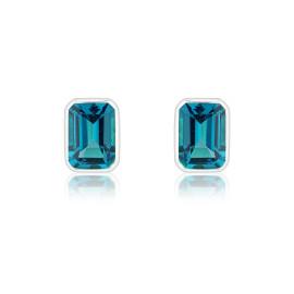 9ct White Gold Octagonal London Blue Topaz Earrings