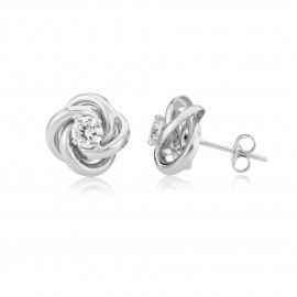 9ct White Gold Knot Cubic Zirconia Earrings