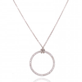 18ct White Gold Diamond Gold Circle of Life Necklace