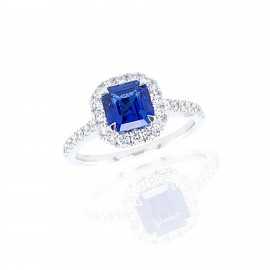 18ct White Gold Diamond & Sapphire Ring