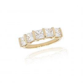9ct Yellow Gold Cubic Zirconia Princess Cut Ring