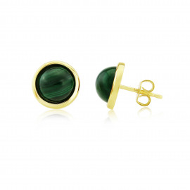 9ct Yellow Gold Malachite Stud Earrings