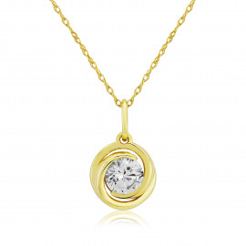 9ct Yellow Gold Cubic Zirconia Swirl Pendant Necklace