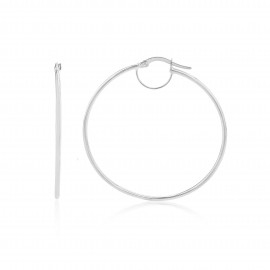 9ct White Gold Medium Plain Hoop Earrings