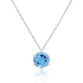 9ct White Gold Blue Topaz Star Pendant Necklace