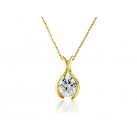 9ct Yellow Gold Cubic Zirconia Pendant Necklace
