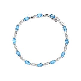 9ct White Gold Blue Topaz Bracelet
