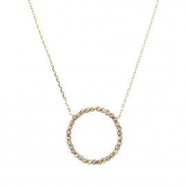 9ct Trio Gold Bead Circle Necklace