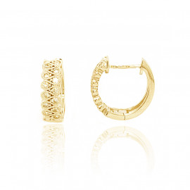 18ct Yellow Gold Millgrain Diamond Earring