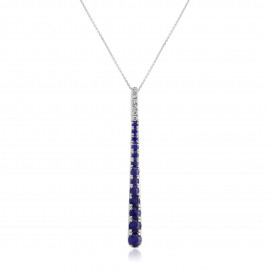 18ct White Gold Diamond & Sapphire Stick Pendant Necklace