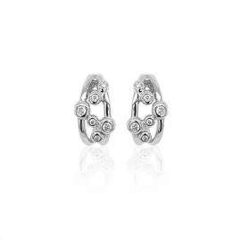 9ct White Gold Diamond Bubble Earrings