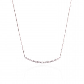 18ct White Gold Diamond Curved Bar Necklace
