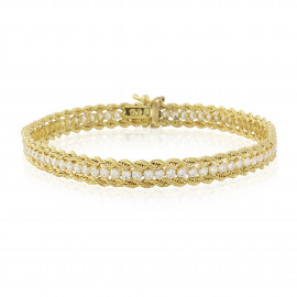 9ct Yellow Gold Cubic Zirconia Rope Bracelet