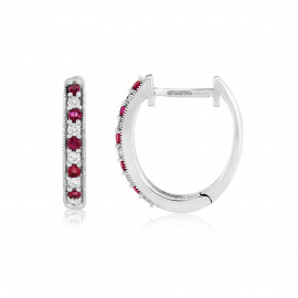 9ct White Gold Ruby & Diamond Hoop Earrings