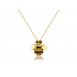 9ct Yellow Gold Diamond & Citrine Bee Pendant Necklace