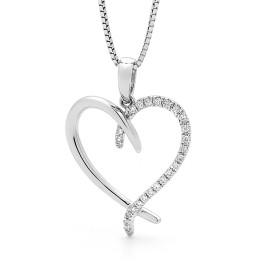 9ct White Gold Diamond Heart Pendant Necklace
