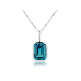 9ct White Gold Octagonal London Blue Topaz Pendant Necklace