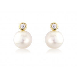 9ct Yellow Gold Diamond Pearl Snowman Earrings