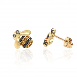 9ct Yellow Gold Diamond & Citrine Bee Earrings
