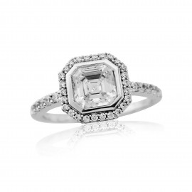 9ct White Gold Cushion Cut Cubic Zirconia Ring