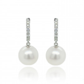9ct White Gold Diamond & Culture Pearl Huggy Earrings