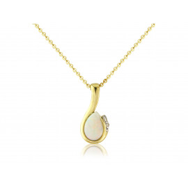 9ct Yellow Gold Opal & Diamond Curl Pendant Necklace