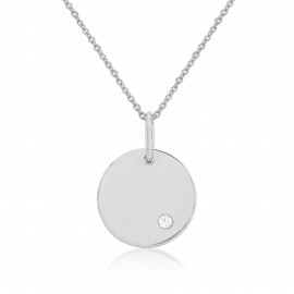 9ct White Gold Diamond Engraving Disc Pendant Necklace