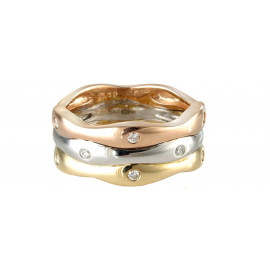 9ct Yellow, White & Rose Gold Wave Ring