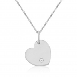 9ct White Gold Diamond Engraving Heart Pendant Necklace