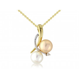 9ct Yellow Gold Diamond Multi Colour Pearl Pendant Necklace