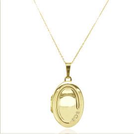 9ct Yellow Gold Diamond Ovsl Locket Necklace