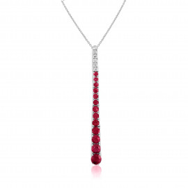18ct White Gold Diamond & Ruby Stick Pendant Necklace