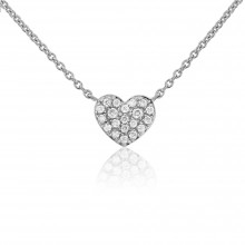 9ct White Gold Diamond Heart Necklace