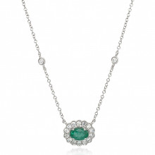 9ct White Gold Diamond Oval Scallop Emerald Necklace