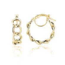 9ct Yellow Gold Curb Link Hoop Earrings