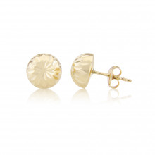 9ct Yellow Gold Diamond Cut Half Ball Stud Earrings