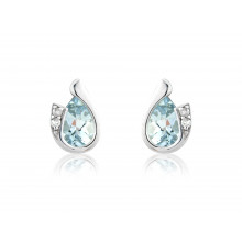 9ct White Gold Aquamarine & Diamond Curl Earrings