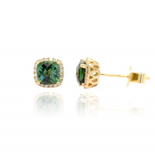 9ct Yellow Gold Diamond & Green Tourmaline Stud Earrings