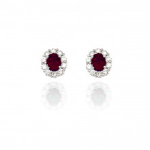 18ct White Gold Diamond and Ruby Cluster Earrings