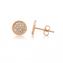 9ct Rose Gold Pavee Cubic Zirconia Earrings