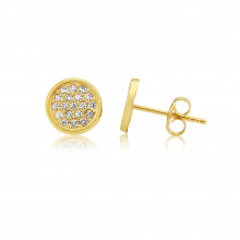 9ct Yellow Gold Pavee Cubic Zirconia Earrings