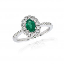 9ct White Gold Diamond Oval Scallop Emerald Ring