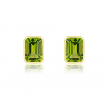 9ct Yellow Gold Large Octagonal Peridot Earrings