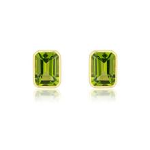 9ct Yellow Gold Large Octagonal Peridot Earrings