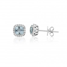 9ct White Gold Diamond & Aquamarine Stud Earrings