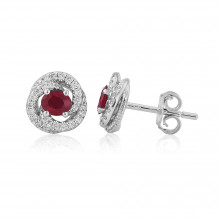 18ct White Gold Ruby & Diamond Fleur Earrings