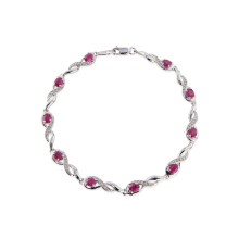 9ct White Gold Diamond Oval Ruby Bracelet