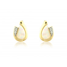 9ct Yellow Gold Opal & Diamond Curl Earrings