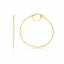 9ct Yellow Gold Medium Plain Hoop Earrings