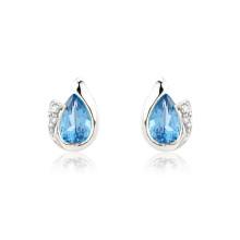 9ct White Gold Blue Topaz & Diamond Curl Earrings